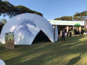 Das Clean-Seas-Zelt auf dem UN-Campus in Nairobi.